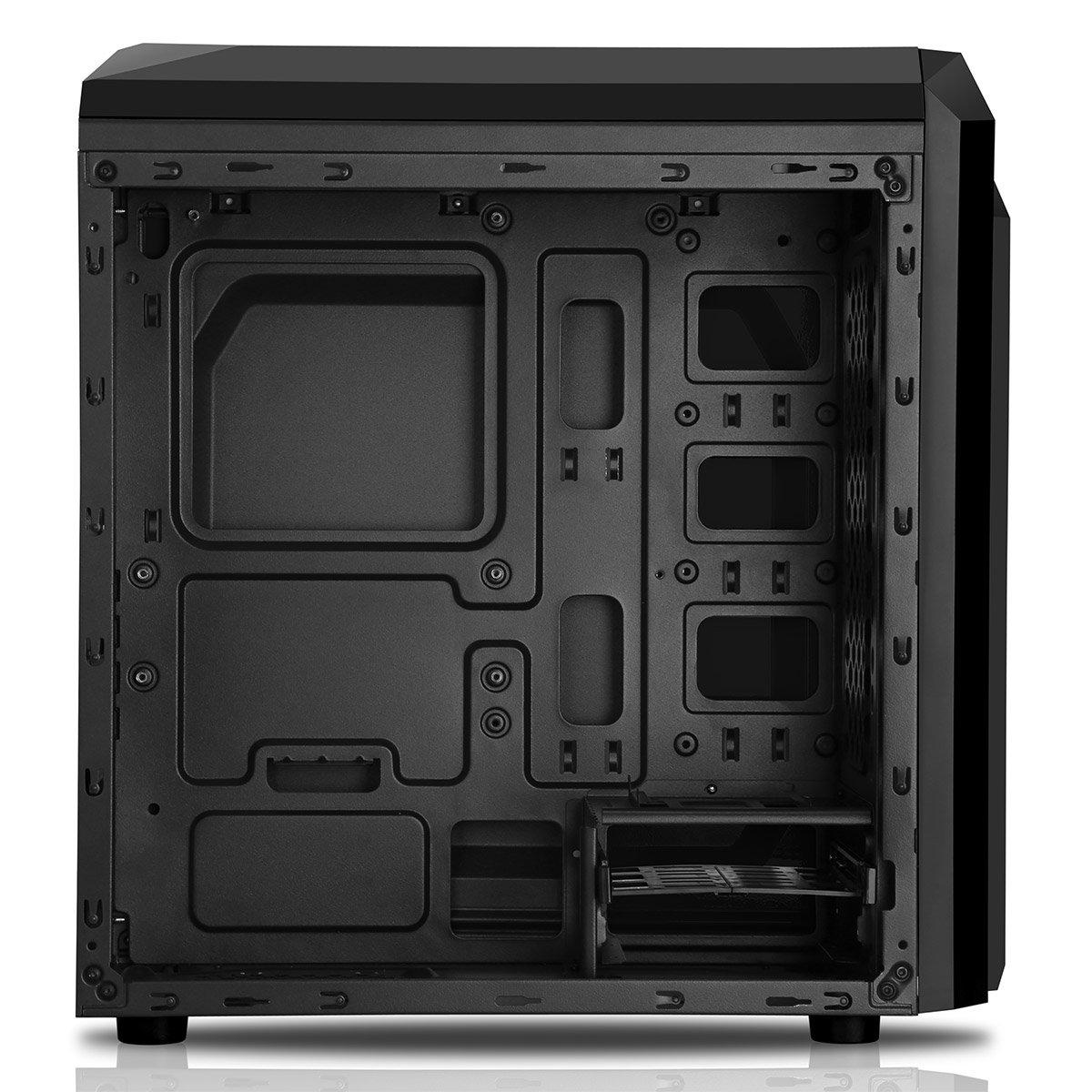 CiT F3 Black Matx Gaming Case With 12cm Purple LED Fan & Purple ...