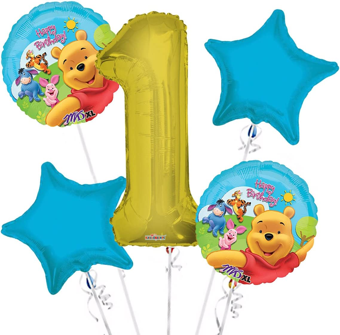 Winnie the Pooh Balloon Bouquet 1st Birthday 5 pcs Party Supplies Viva Party