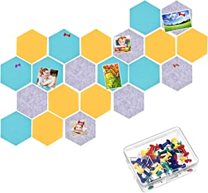 21 Pieces Pin Board Hexagon Felt Board Tiles Bulletin Board Memo Board Notice Board with 40 Pieces Push Pins for for Office/Home/Kitchen/Dorm Room Wall Decor 6.9 x 5.9inch/ 17.7 x 15cm