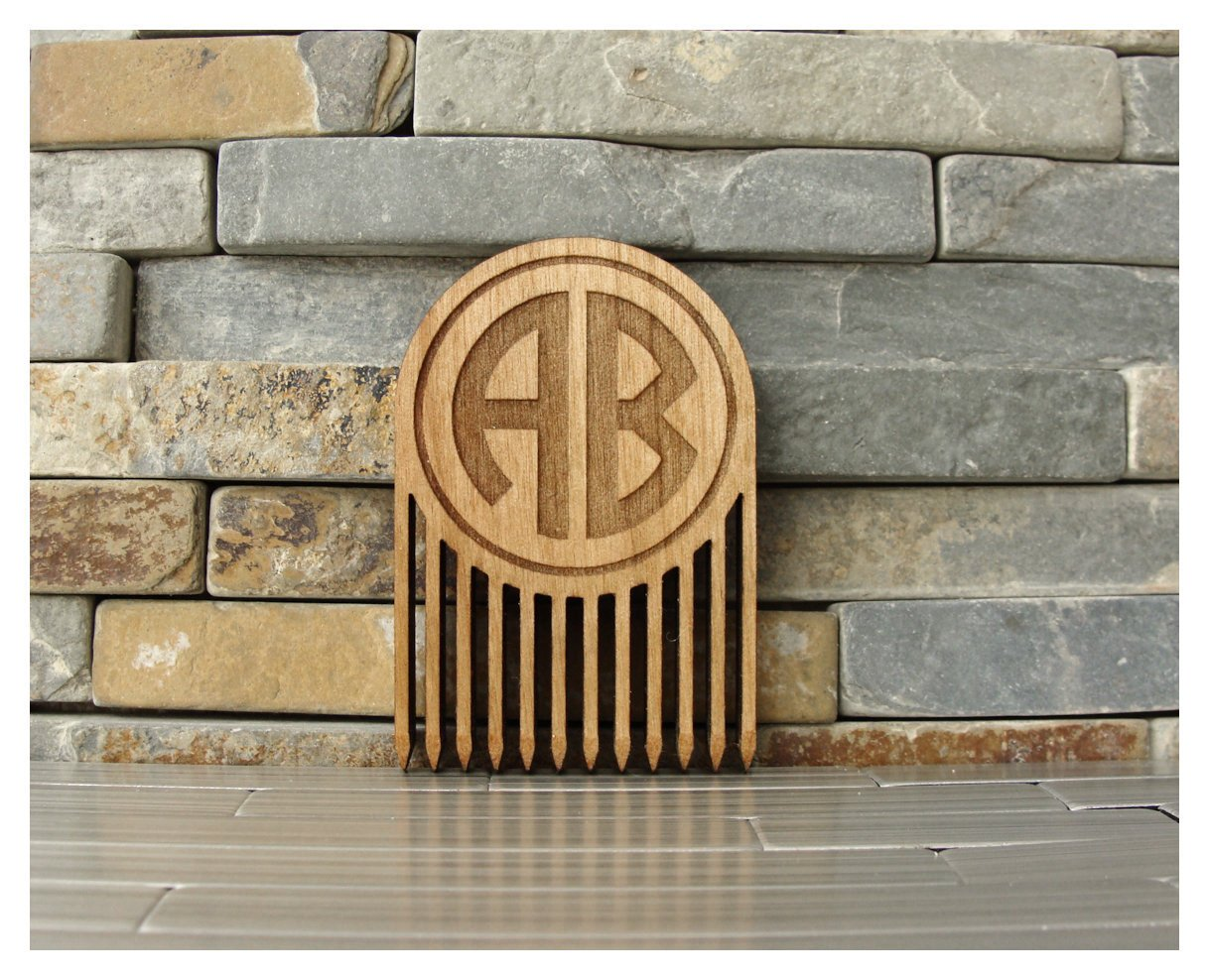 Personalized Wood Beard Comb with 2 Letter Monogram