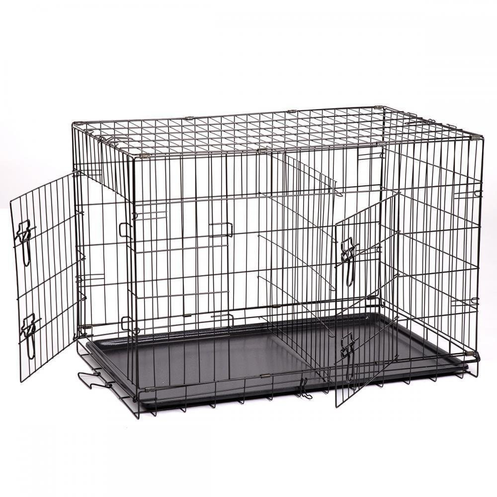 Folding Pet Dog Cat Crate Cage Kennel With Plastic Tray W/Divider (30'')