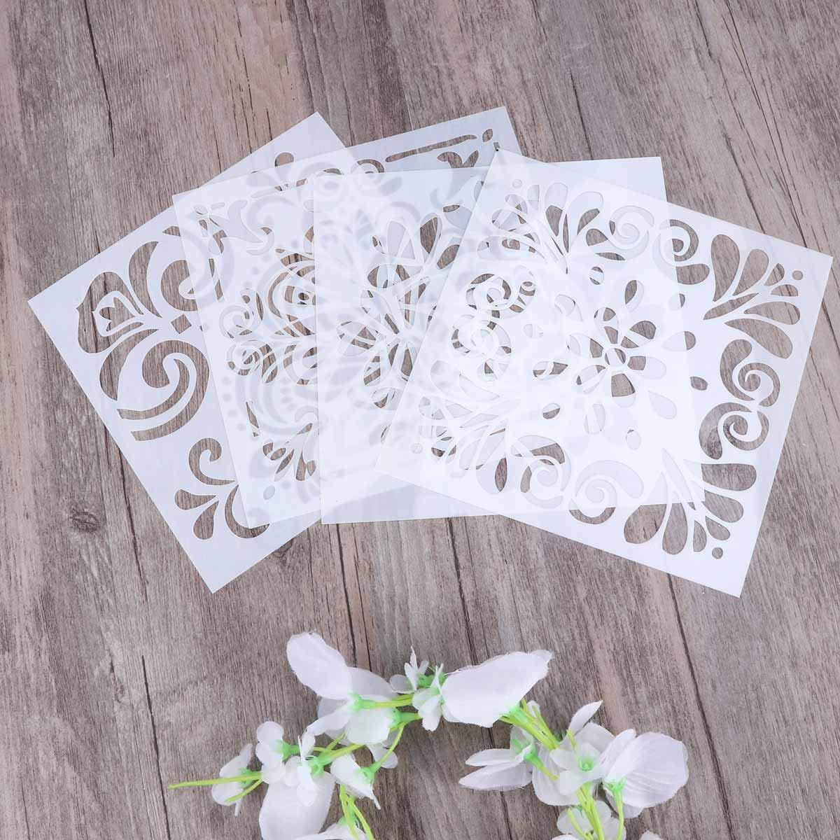 SUPVOX 4pcs Plantillas de aerosol Retro Totem Stencils Set Corte Pintura Stencil Piso de la pared Azulejo Tela Plantillas de madera Spray de la flor ...