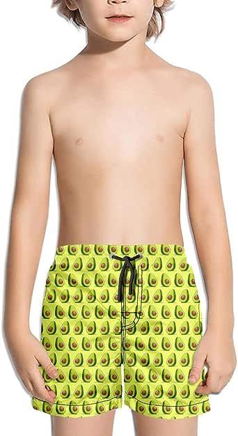 SYBING Brown Avocado Red Background Boys Cool Quick Dry Drawstring Elastic Waist Sports Running Beach Swim Trunk