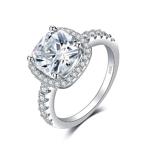 Jewelrypalace 3.3ct Prinzessin Schliff Zirkonia Engagement Ringe Trauring Ehering Hochzeitsring 925 Sterling Silber