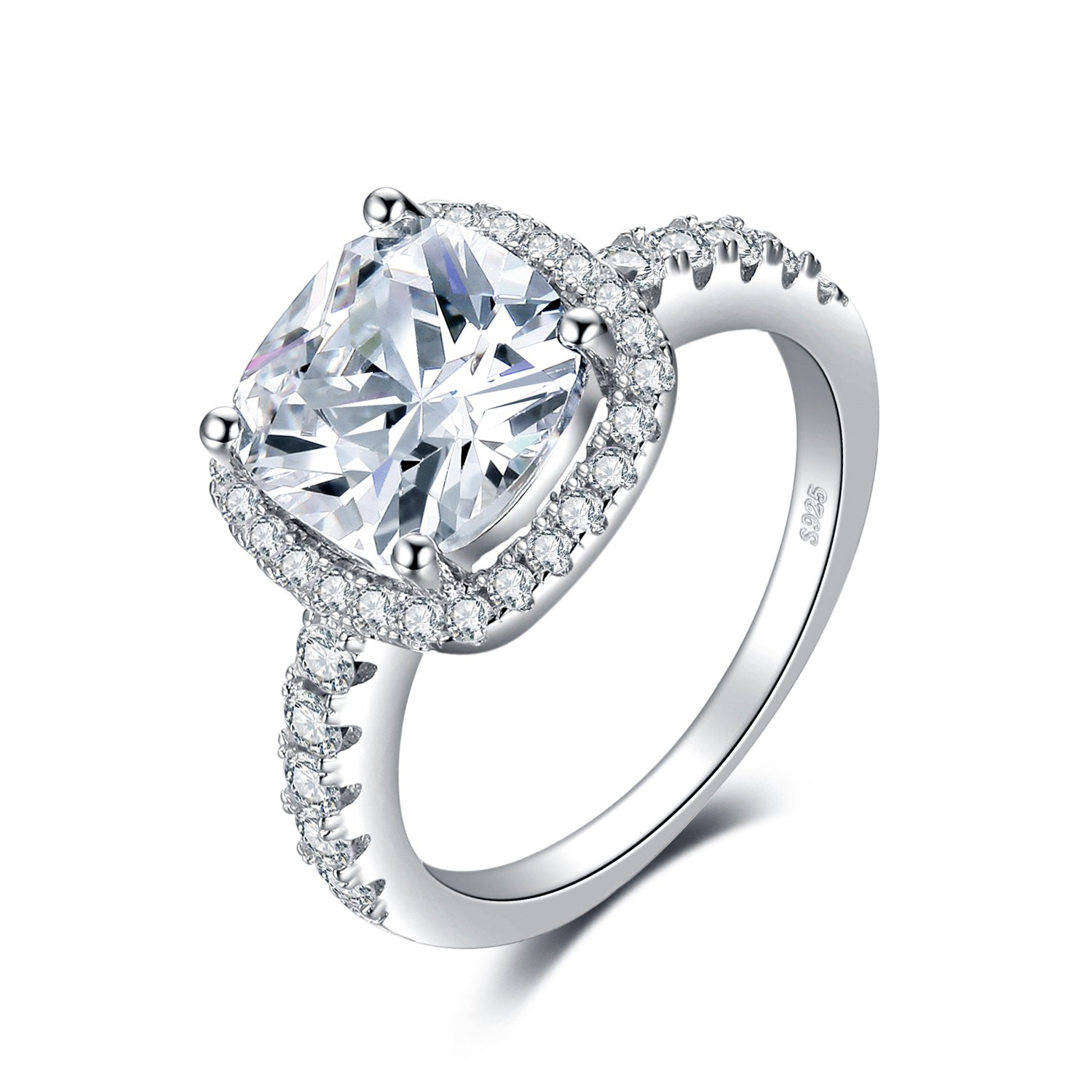 JewelryPalace Cushion 3ct Cubic Zirconia Promise Halo Solitaire Engagement Ring 925 Sterling Silver Size 7