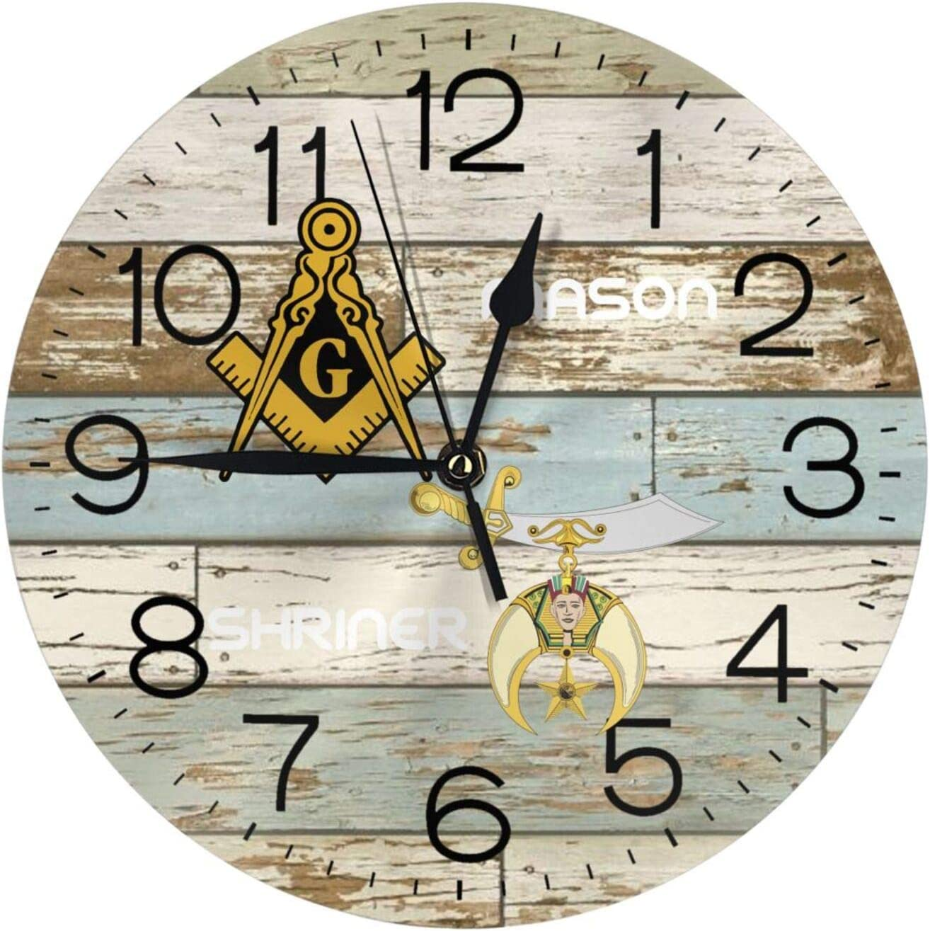 Masonic Shriner Split 3D Printed Pattern Round Wall Clock Silent Non Ticking Decor Wall Clock Suitable Home Kitchen Office Living Room Decor 10 Inch Wall Clock