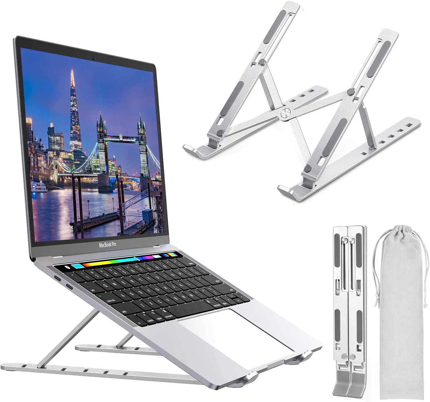 Laptop Stand, Topwey 6 Angles Adjustable Laptop Holder Laptop Riser Compatible with 10-16inch Laptops, Aluminum Ventilated Adjustable Laptop Stand for Desk for MacBook, HP, Lenovo, DELL, Sony, iPad