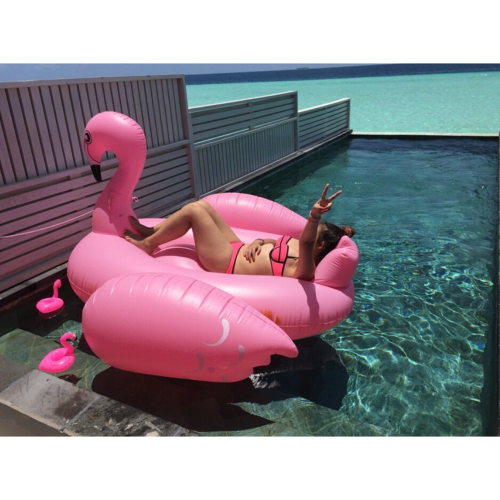 Flamingo 190200130+pump ECLEAR New Giant White Swan Swimming Pool Float with Rapid Valve and Cup Holders, Inflatable Summer Toy (190190130cm), Pool Party Toy with Rapid Valves For Adults and Kids  White Swan