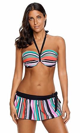 UMilk Mujer 3 Piezas Push up triángulo Halter Bikini Top Falda ...