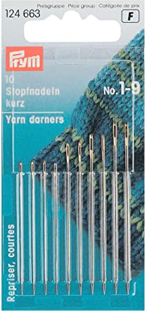 Prym Long HT 1-5 Darning Needles with Gold Eye Pack of 10 Silver