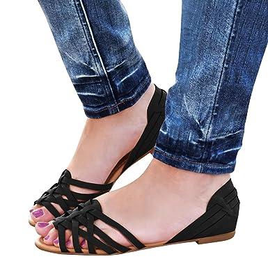f51d995f771cb1 Pxmoda Womens Summer Beach Gladiator Sandals Flip-Flops Casual Slip On  Loafers Flats (US