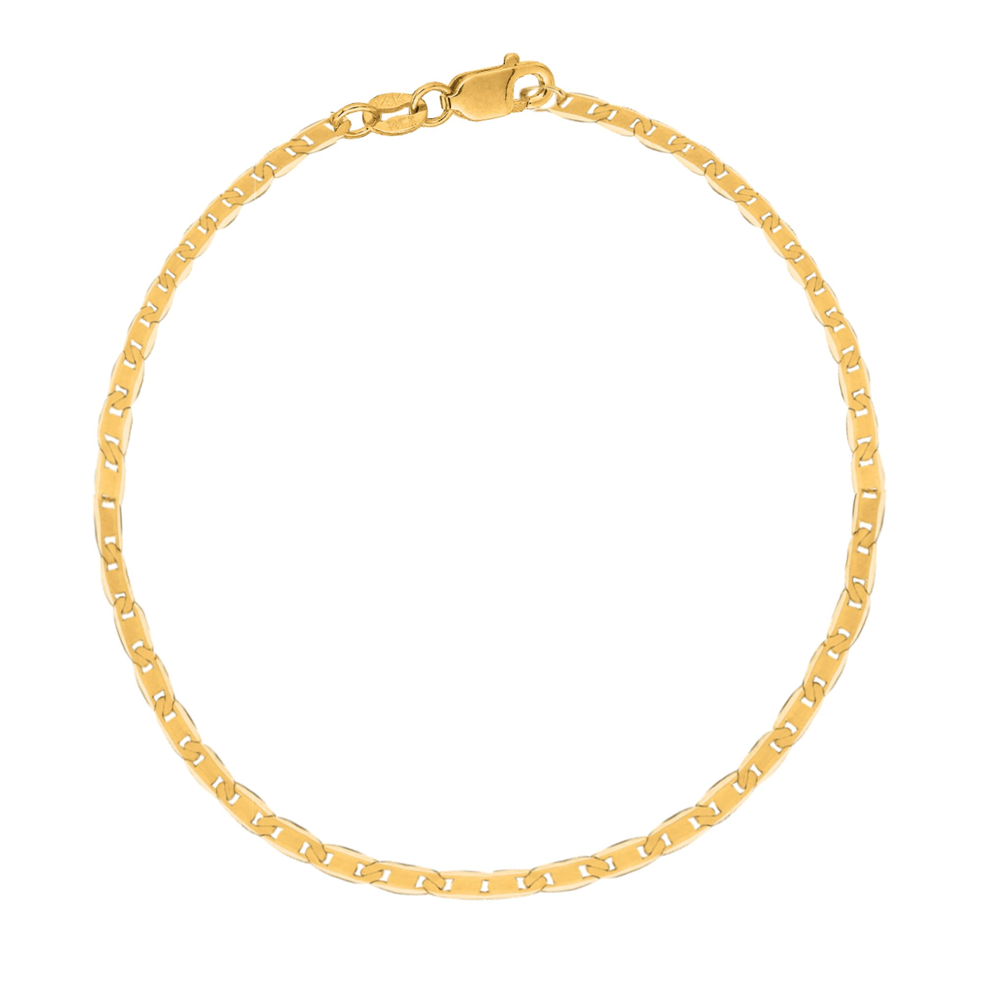 10k Solid Yellow Gold Mariner Link Chain Ankle Anklet 10 Inches