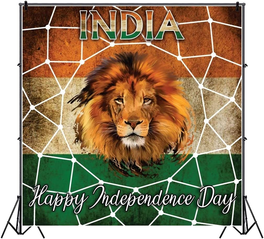 Yeele 9x9ft Happy Independence Day Photography Background India Flag Tiger Photo Backdrop Studio Props Video Drape