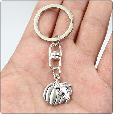 Fashion Car Keychain Silver Color Metal Key Chains Accessory Vintage pumpkin leaf Key Rings