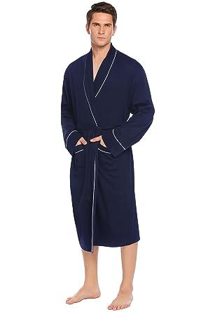 SummerRio Bademantel Herren, Morgenmantel Saunamantel Kimono Baumwolle Schalkragen Langarm mit Gürtel und Tasche M 3XL