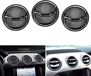iJDMTOY 3-Set Black Carbon Fiber Overlay Trims Compatible With 2015-up Ford Mustang Center Dashboard AC Vent Cover Decoration