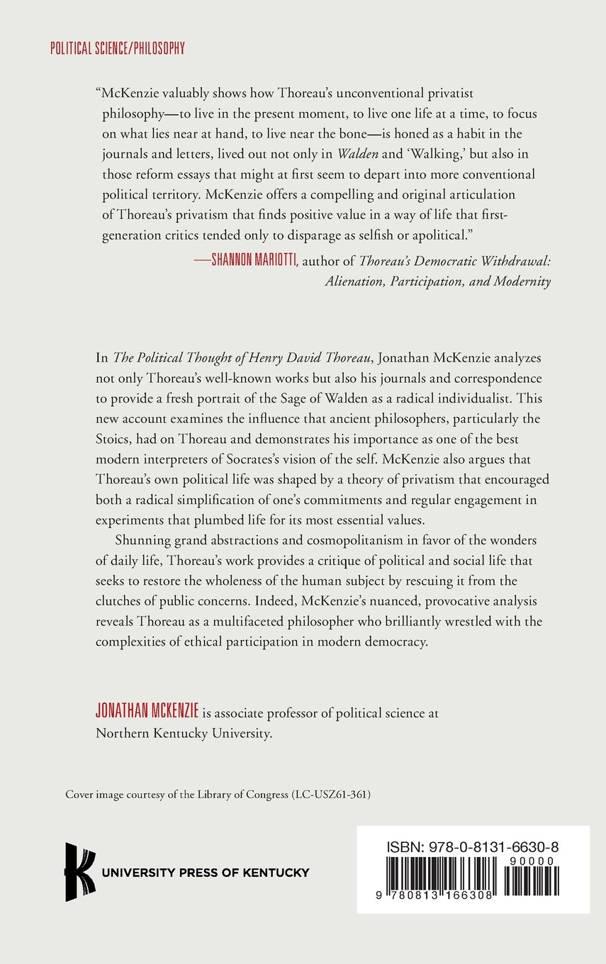 com the political thought of henry david thoreau com the political thought of henry david thoreau privatism and the practice of philosophy 9780813166308 jonathan mckenzie books