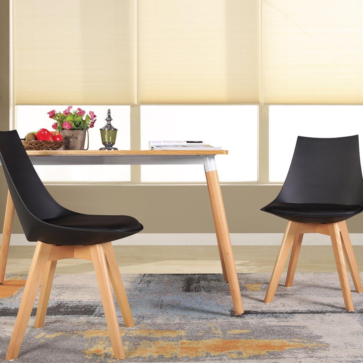 H.J WeDoo Set de 2 sillas de Comedor escandinava Gris Acolchado Suave y Madera Haya Estilo nordico