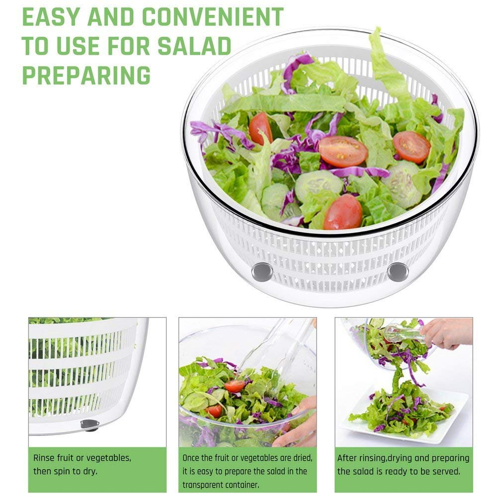Salad Spinner Dryer,LOVKITCHEN Vegetables & Fruits Dryer with Large 4 Quarts & Quick Dry Design BPA,Ease for Tastier Salads and Faster Food Prep by Lovkitchen (Image #7)