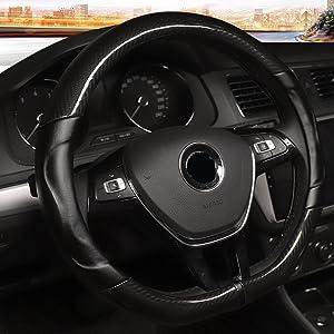 "Rayauto D Cut 38cm 15"" Breathable Anti-slip Embossing Carbon fiber Car Steering Wheel Covers"