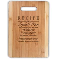 "Mothers Gift Recipe for a Special Mom ( MED 13""x9.5"", Not Customized ) Bamboo Serving Cutting Board for Mothers Day Birthday or Christmas"