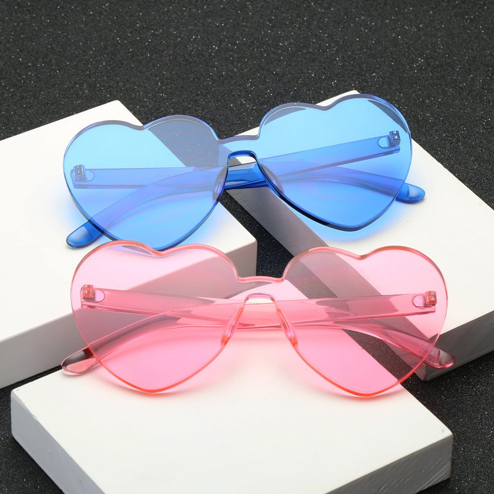 OULII Men Women Heart Shape Sunglass Multicolor Summer Glasses Beach Party Eyeglasses