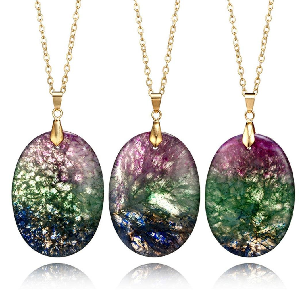 Gyoume Women Girls Rainbow Stone Natural Crystal Rock Necklace Gold Plated Quartz Pendant (A, Colorful)