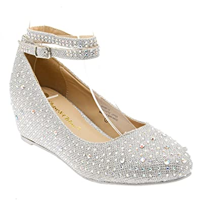 f260c292b3 Chase & Chloe Womens 36-BOBBY12 Round Toe Med Low Heel Wedge Pump, Silver