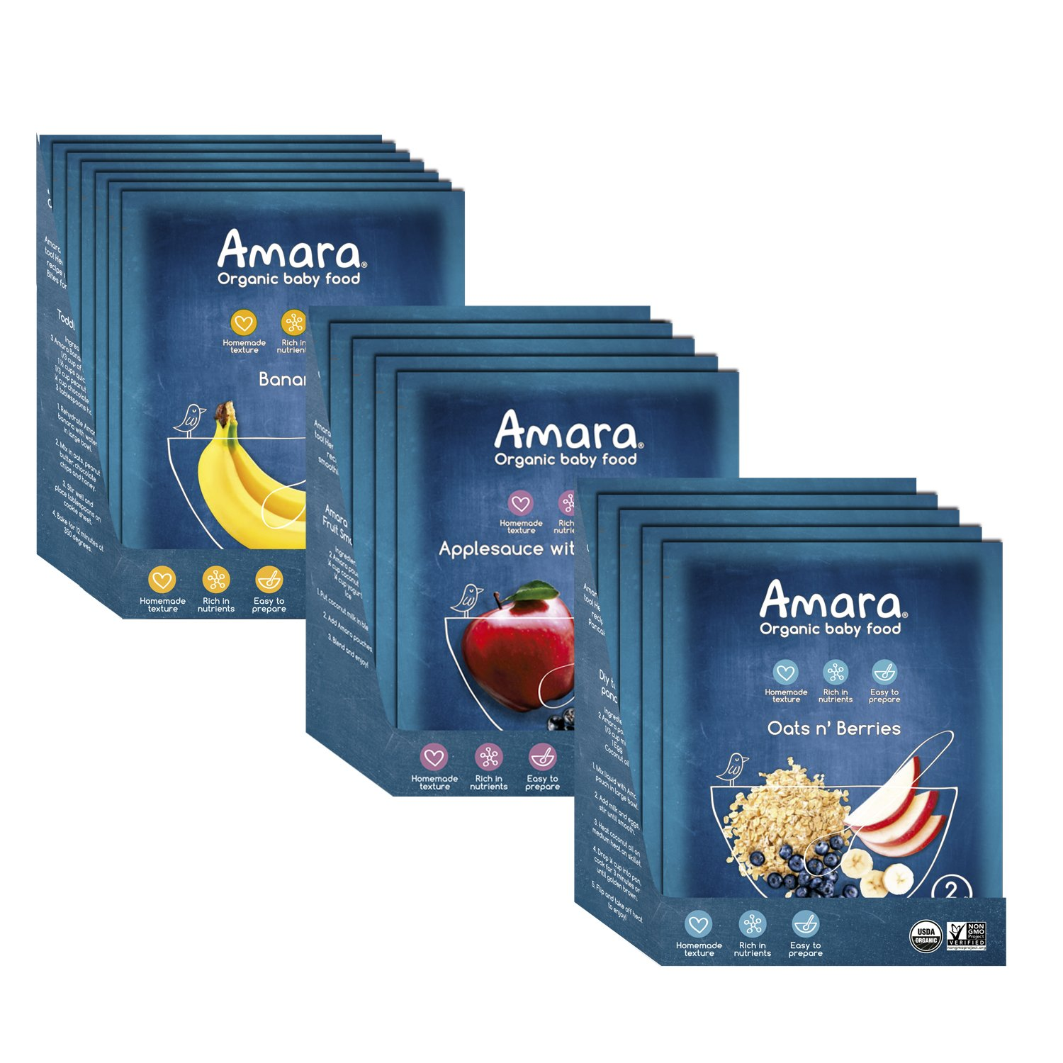Amara Baby Food, Anti Inflammatory Baby Food Pack for Healthy Digestion, Helps Promote Healthy Tummy, Stage 1 & 2 Fruits and Veggies, No Additives (17 Pouches)