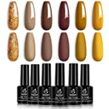 Beetles Brown Yellow Glitter Gel Nail Polish Set, 6 Colors Suit for Autumn Winter Nail Art Manicure Kit Required Lamp…