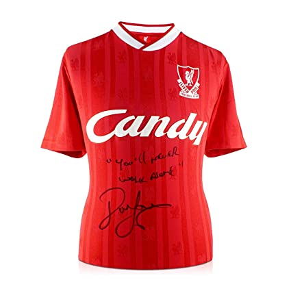 6c778236b John Barnes Signed 1988-89 Liverpool Home Jersey  You ll Never Walk ...