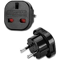 Incutex 1x VK tot EU Adapter Reis Adapter VK naar DE Reis Stopcontact VK naar DE Adapter VK 3-Pin naar Euro 2-Pin Type E…