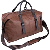 Oversized Leather Travel Duffel Bag, Weekender Overnight Bag Waterproof Leather Large Carry On Bag Travel Tote Duffel…
