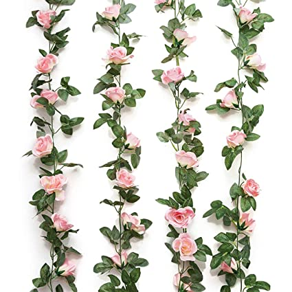 ad9fb3a73f Yebazy 2PCS(16FT) Fake Rose Vine Garland Artificial Flowers plants ...