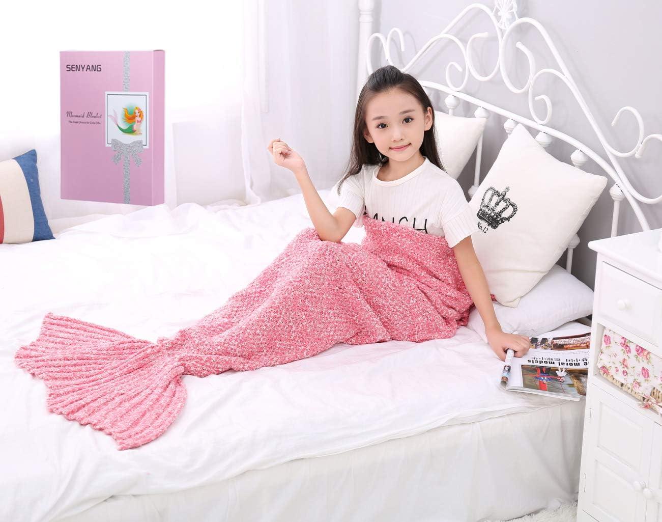 SENYANG Cola De Sirena Manta - Regalos para niñas, Manta De Sirena para Niñas, Bolsas De Dormir para Niños,La Mejor opción para Regalos de niñas, Regalos de cumpleaños(Thick Pink)