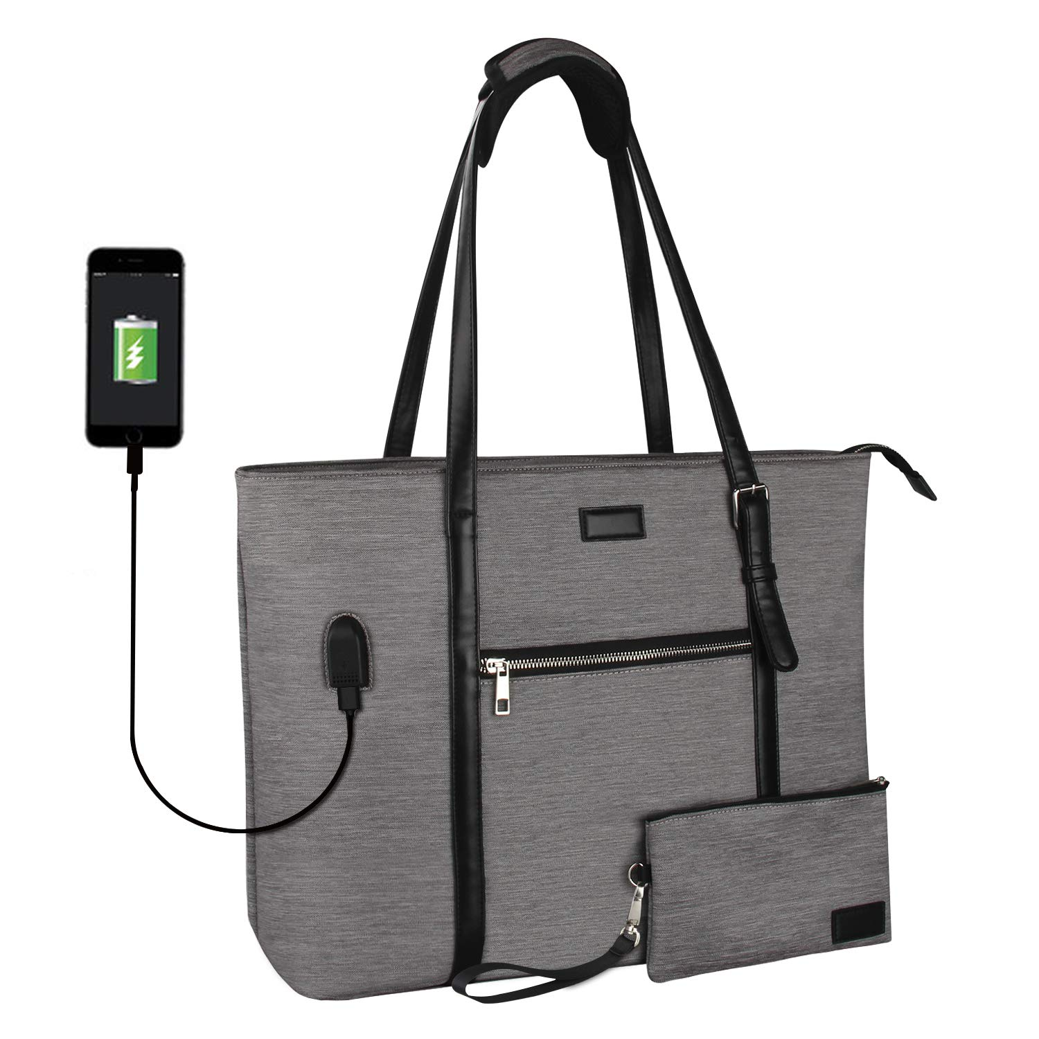 Laptop Tote Bag, Large Work Bag Purse Fits 15 Inch Laptop, Multiple Compartments and Pockets Teacher Bag Organizer Water Resistant with USB Port, Adjustable Strap ... (Gray)