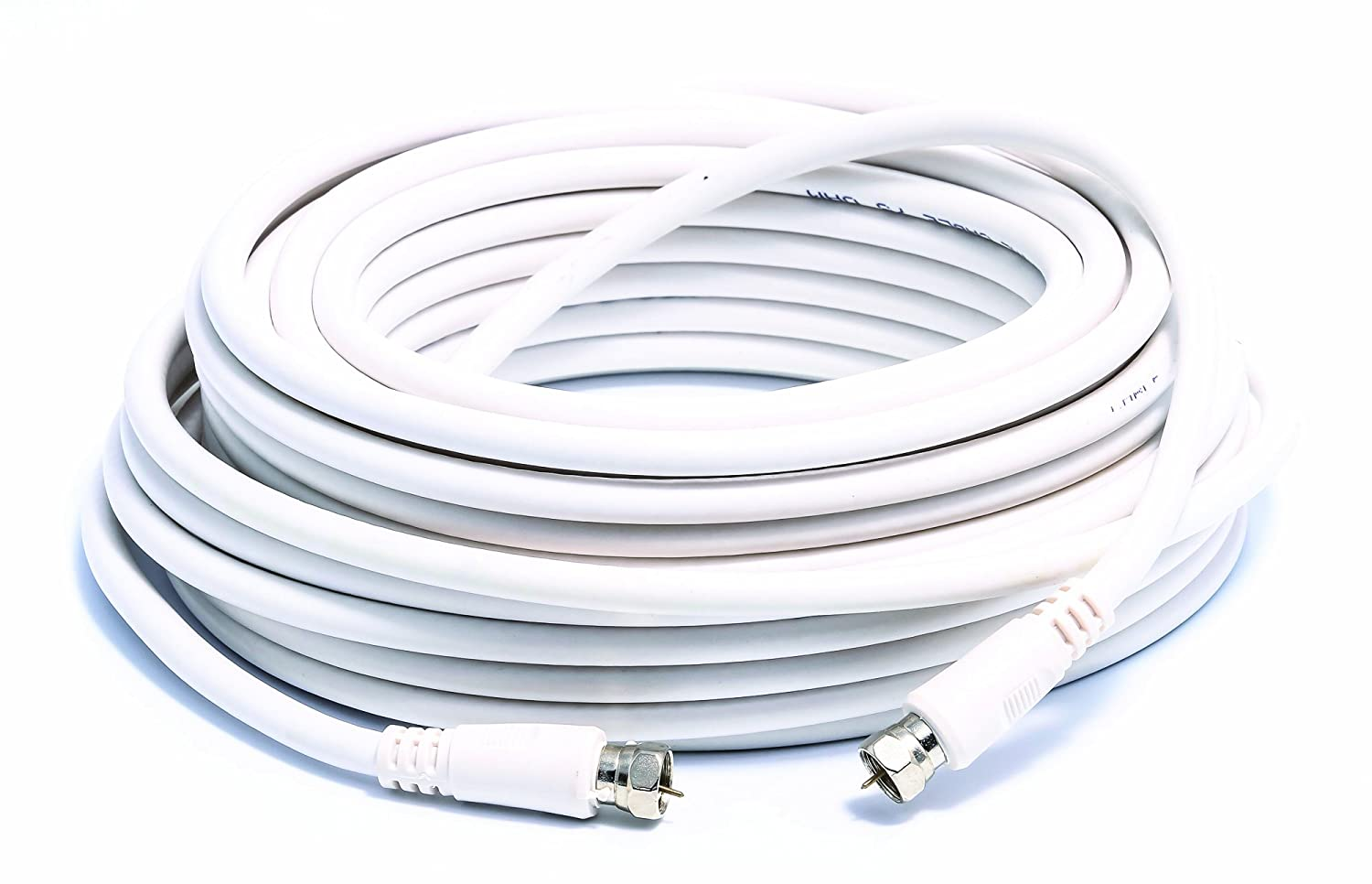 50 ft White Camco Heavy Duty 18 AWG 75 OHM Digital Coaxial Cable with Male Connector Ends 64761