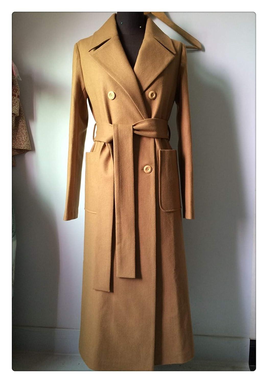 Queixiw UK Women Plus Size Autumn Winter Cassic Simple Wool Maxi Long Coat