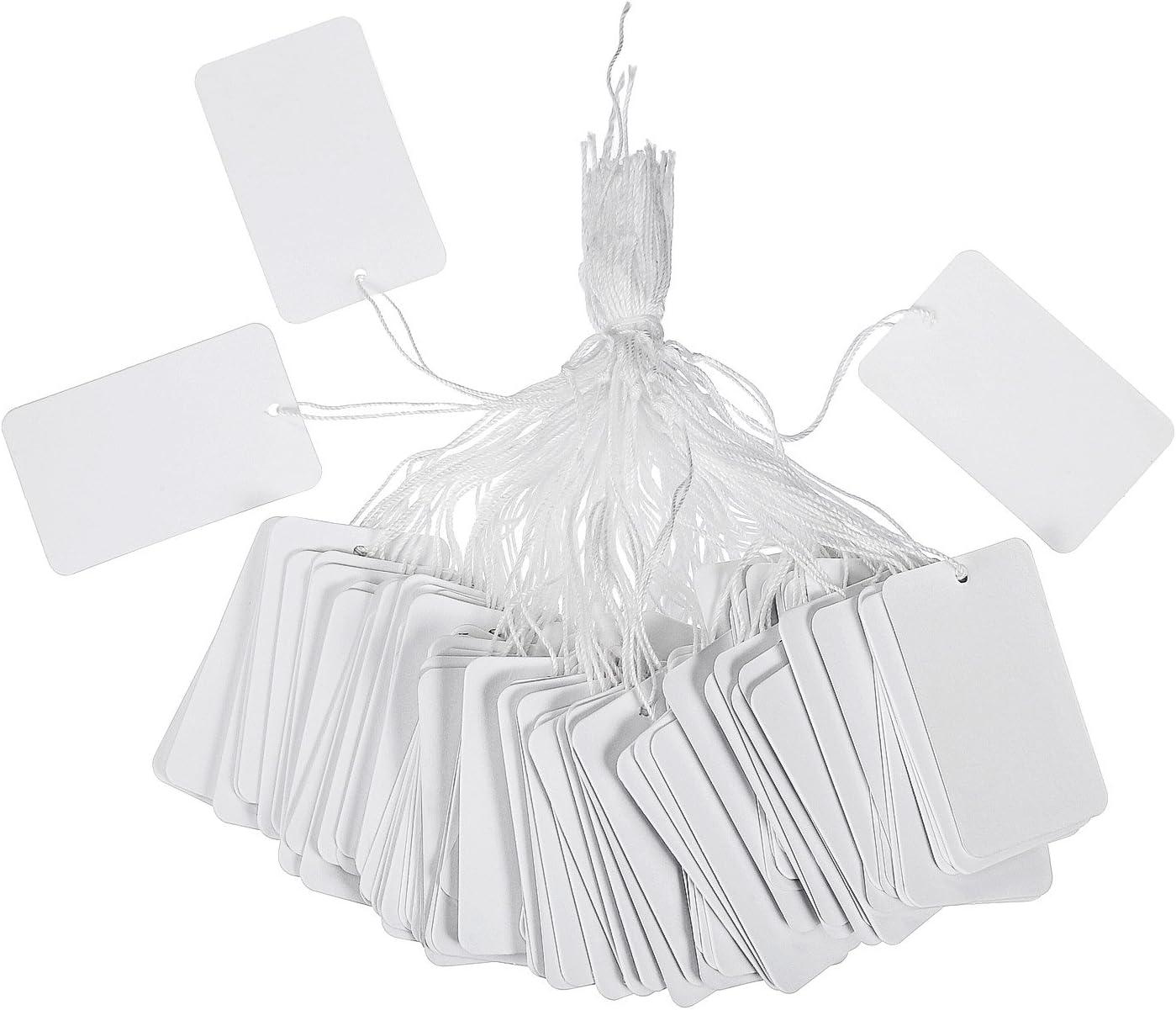 500 Piezas de Etiquetas de Precio con Cordel Blancas Etiqueta Rectangular Etiquetas Colgantes de Ropa Joyería Etiqueta de Marcado, 30 por 48 mm