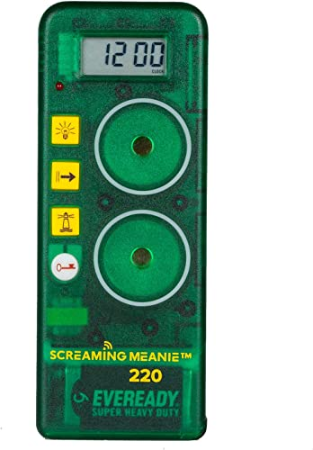 Screaming Meanie 220 Alarm Clock and Timer – Extremely Loud for Deep Sleepers – Multi-Purpose Clock – 3 Sound Levels – Assorted Colors Green
