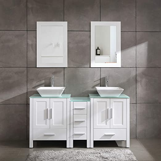 Amazon Com 60 Bathroom Vanity Cabinet With Double Sink Combo