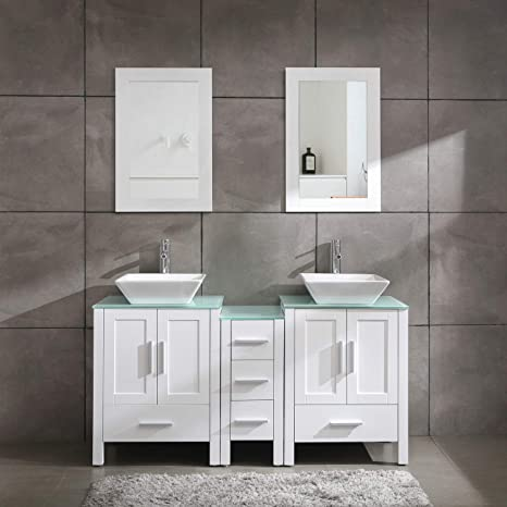 Peachy 60 Bathroom Vanity Cabinet With Double Sink Combo Glass Top White Mdf Wood W Mirror Faucet Drain Set Download Free Architecture Designs Barepgrimeyleaguecom