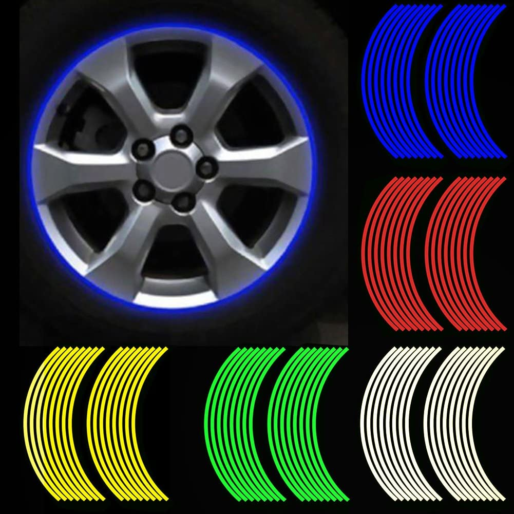 F FIERCE CYCLE 16pcs 17-18 Wheel Rim Waterproof Pvc Reflective Strips Green for Motorcycle Car Bike