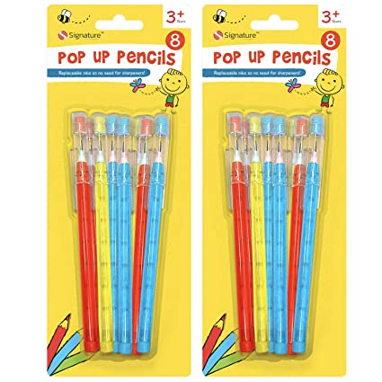 10 Pop Up Pencils With Eraser Assorted Coloured Casing Lids Push Up Pencil Party
