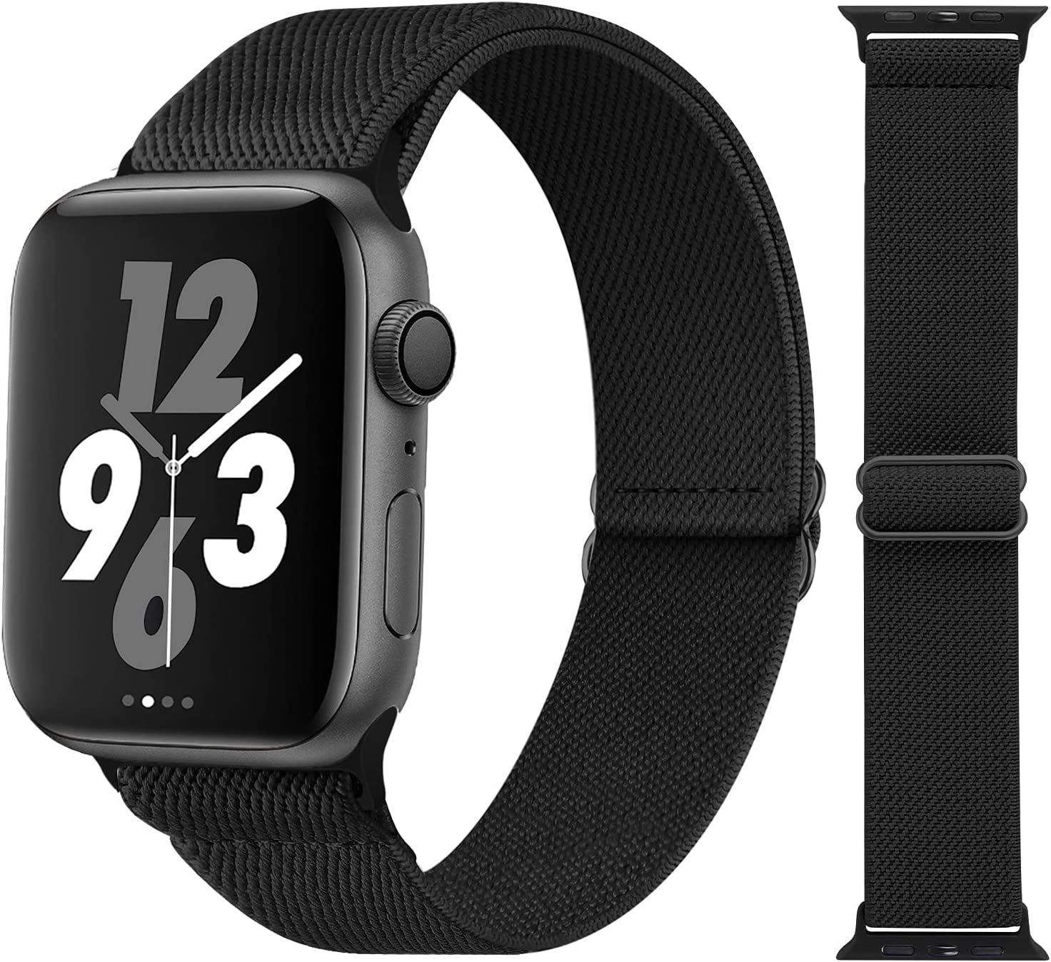 Acrbiutu Stretchy Solo Loop Nylon Bands Compatible with Apple Watch 38mm 40mm 42mm 44mm, Adjustable Braided Stretch Elastics Strap for iWatch Series 6/5/4/3/2/1 SE, Black 38mm/40mm