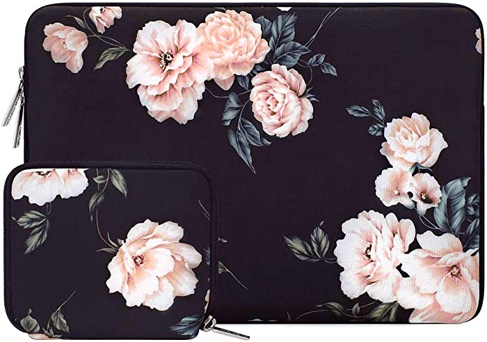MOSISO Laptop Sleeve Compatible with 13-13.3 inch MacBook Pro, MacBook Air, Notebook Computer, Water Repellent Neoprene Camellia Bag with Small Case