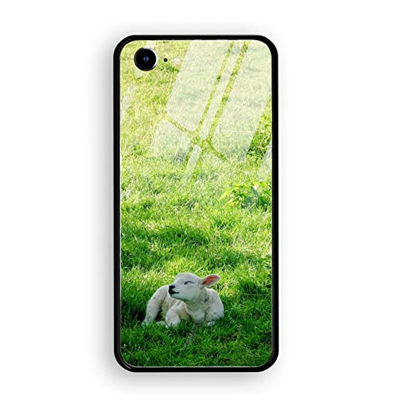22ad6335af4 Amazon.com  Lamb in Meadow iPhone 7 iPhone 8 Case Luxury Tempered ...