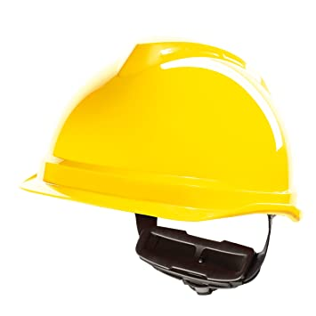 Casco de Protección MSA V-Gard 520 con Ajuste por Trinquete FasTrack - Casco de Trabajo Casco de Seguridad Casco de Construcción, Color: Amarillo: ...