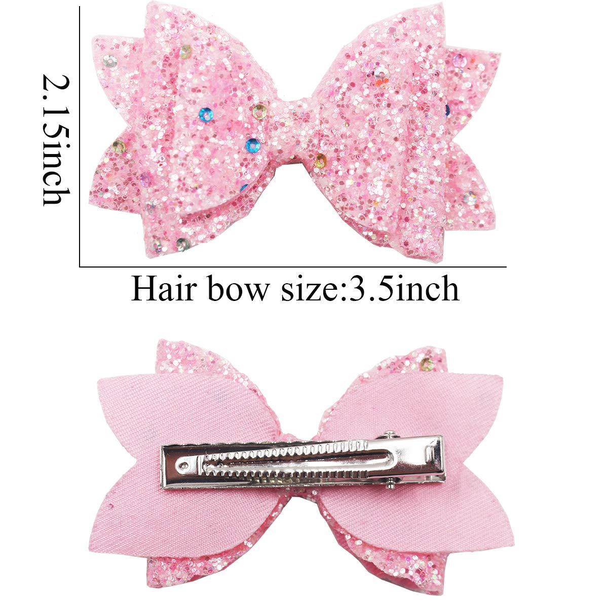 Faux Leather Pink Pretty In Pink Glitter Bow 3 inch Bow Glitter 3.5 inch Bow