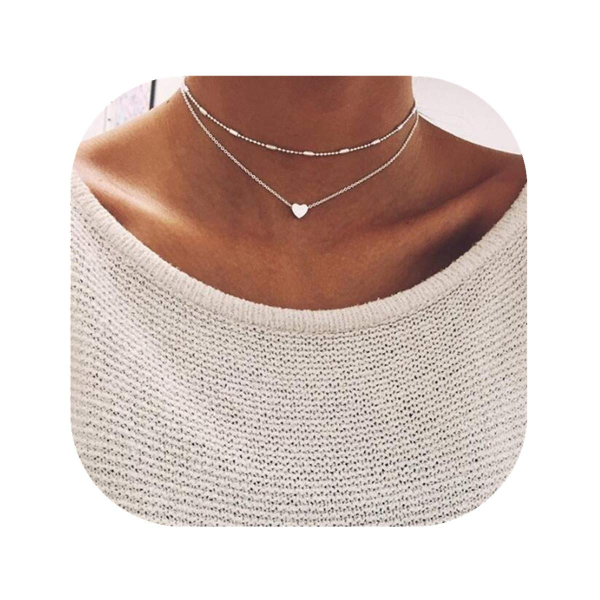 Anqifull Dainty Layered Gold Chocker Handmade Beads Fill Heart White Opal Necklace for Women Girls 012 by Anqifull (Image #1)